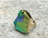 BLACK FRIDAY SALE Jean Paul Gaultier Ring, Scarabaeus Green Swarovski Crystal Ring, Metallic Green Raw Crystal Cut Ring, Nickel Free Gold Ri