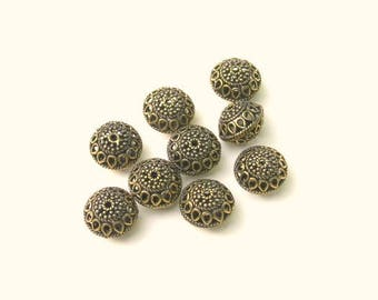 Filigree Saucer Bead - 11X14mm - Sold by the Pair