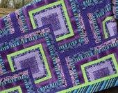 QUEEN / KING QUILT, Custom Design,  Log Cabin pattern, Wedding Gift, Blanket, Boho Decor, Pillow covers.
