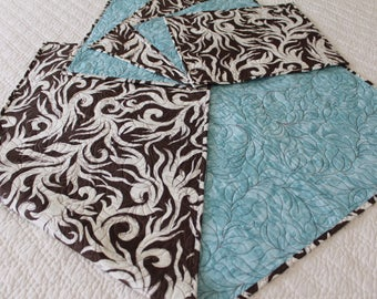 Table runner and place mat set.  Botanical. Chocolate, Almond. Aqua. Bridal Shower gift.