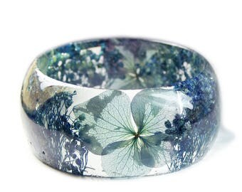 Blue Flower Jewelry- Real Flower Jewelry- Blue Bangle- Blue Flower Jewelry- Resin Jewelry- Flower Bangle- Flower Resin Bracelet
