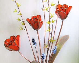 Forever Spring- Ikebana Style Glass, Copper, and Brass Floral Sculpture