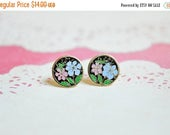 MOVING SALE Daisy Earrings - Flower Enamel Earrings - Blue & Pink Daisies - Shabby Chic - Surgical Steel Earrings - Floral Earrings - Circle