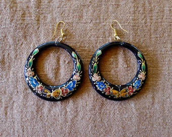 Mexican hand painted enamel wood dangle hoop earrings LARGE black w/floral butterfly design gypsy boho Frida Kahlo