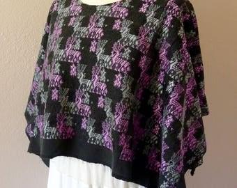 """Guatemalan huipil poncho handwoven wide TacTic sage lavender deer patterns boho Frida Kahlo 38"""" w x 18""""L"""