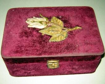 ANTIQUE Victorian Vintage Jewelry Sewing TRINKET BOX Red Bordo Velvet Mirror