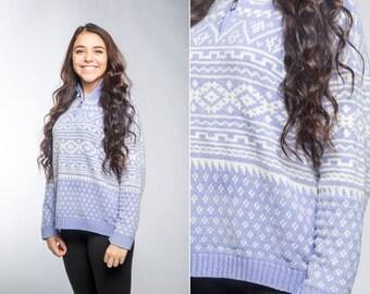 90s Soft Vintage Sweater Purple Fair Isle Lavender Size M to L Snow Velour Ski Sweater 16Z
