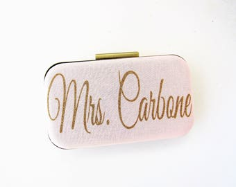 New last name clutch blush wedding bag bride mrs gift