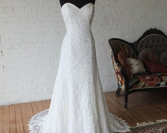 Gupiere lace wedding dress strapless bridal gown plus size