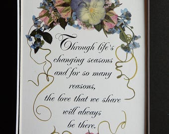 Anniversary verse with flowers. Pansy art. Wedding Gift. Anniversary gift. Pressed flower REPRODUCTION. Mothers Day gift . Floral art.