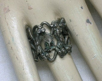 Tibetan Puzzle Ring. Antique Chinese. Table Motif. 4 Band. Tribal. IDPZ2. Size 8.5
