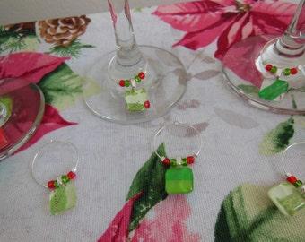 Stocking Stuffers - Christmas Wine Charms - Red Charms - Set of Six - Glass Wine Charms - Hostess Gift - Christmas Gift - Xmas Entertaining