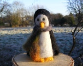 Penguin with a woolly scarf - needlefelted decoration for Christmas, Yule or Winter