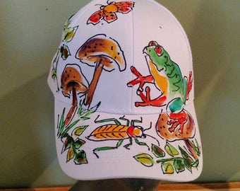 Frog and Mushrooms  Baseball Cap Handpainted for Adults and Kids