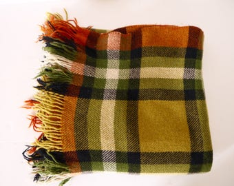 French Vintage Brown Green Orange Plaid wool blanket autumn colors wool throw blanket couch blanket