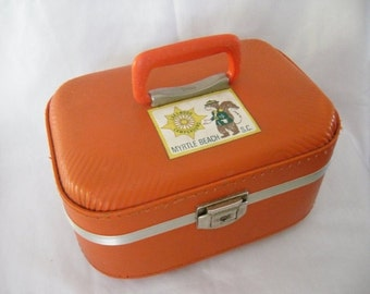 Retro Burnt Orange Train Case Luggage 1970's Mid Century Suitcase
