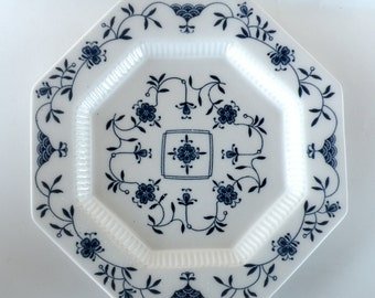 Nikko Blue and White Dishes CLASSIC COLLECTION Dinnerware- Salad Plate Octagon Bread Plate