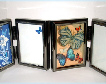 Picture Frames Decorated Doubled-Sided Small Personal Travel Size Hand Crafted Embellishments on 1-Side Your Choice of Design