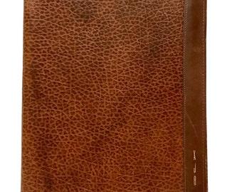 Vintage 1980s ROLF's Cowhide Leather Portfolio Folder Binder, brown Northrop Management Conference