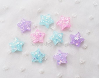6pcs - Pastel Opal Star Mix Flatback Decoden Cabochon (16mm) STR014