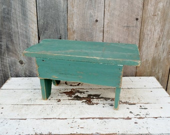 Small Green Vintage Wooden Step Stool Chippy Paint Handmade Foot Stool Child's Bench Primitive Rustic Farmhouse