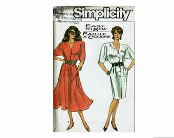 1980s Easy to Sew Dress Full or Slim Skirt Sizes 14 16 18 Bust 36 38 40 Uncut 80s Sewing Pattern Simplicity 8566