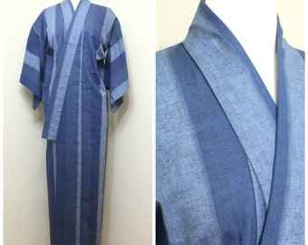 Japanese Vintage Kimono. Blue Indigo Ikat Cotton Robe (Ref: 1596)