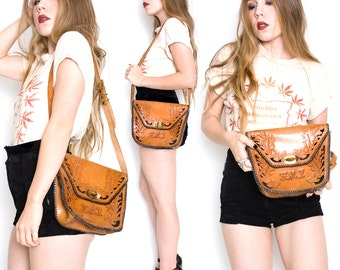 70s Vintage Leather Tooled Purse FML Monogram Initials Hippie Boho Stoner Bag