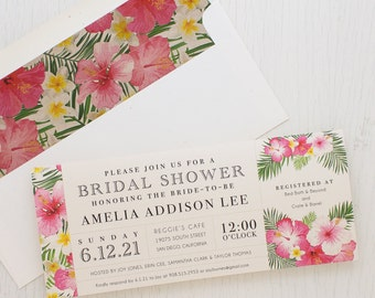 "Tropical Bridal Shower Invitations, Boho Bridal Shower Card with Matching Envelope Liner Unique Bridal Shower 3.00/each - ""Bright Tropical"""