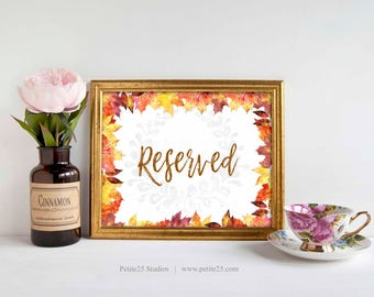 Reserved Sign, autumn, fall, orange maple leaves, autumnal, Wedding Reception Signage, 5x7, 8x10, INSTANT DOWNLOAD