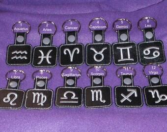 Zodiac Keychain, Zodiac Key Chain, Zodiac Key Ring, Aquarius, Aries, Cancer, Gemini, Leo, Libra, Pisces, Sagittarius, Scorpio, Taurus, Virgo