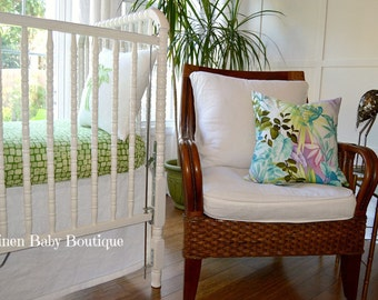 Tropical Palm Baby Bedding. Linen Skirt. Polynesian Crib Bedding. Fast Shipping.