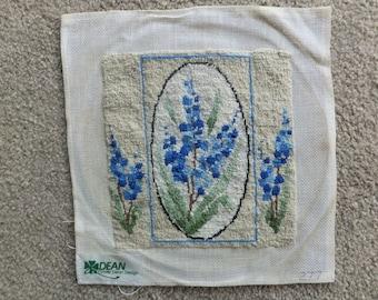 Vintage Petit Point Canvas with Delicate Blue Flowers