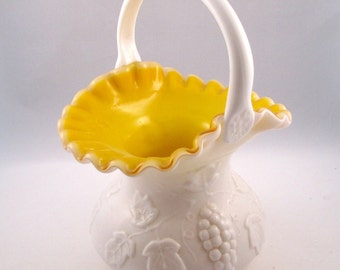 Kanawha Milk Glass Handled Basket Grape Pattern Cased Yellow - FL