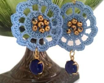 Crochet Earrings, Beaded Earrings, Blue Earrings, Crochet Motif Earrings, Thread Earrings, Blue and Gold Earrings, Drop Earrings, Summer