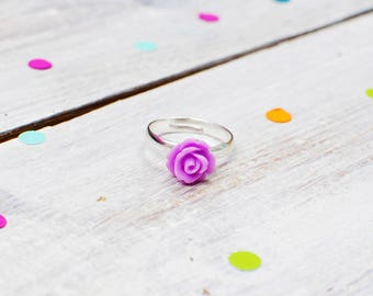Lilac Rose Ring | Purple Flower Ring | Adjustable
