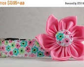 Sale 15% Off Dog Collar with Flower -  Flamingo Floral - All Sizes
