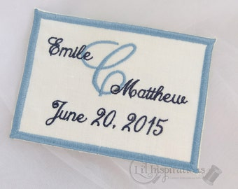 Something Blue Dress Label | Personalized Patch | Unique Gift for Bride | Embroidered Gown Label