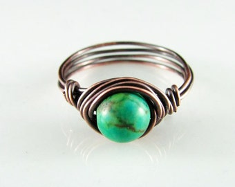 Wire Wrapped Ring Green Turquoise Ring Copper Ring Wire Wrapped Jewelry Copper Jewelry Turquoise Jewelry