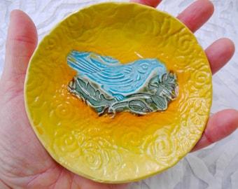 Bird Dish, Blue Bird, ring dish, snack plate, Yellow Decor, stamped pottery, Ceramic bowl, ring bowl, salt bowl, dipping bowl, sauce bowl