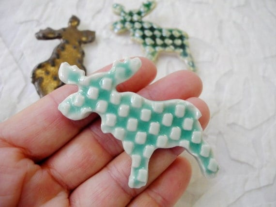 Moose brooch, Moose pin, porcelain brooch, Moose jewelry, pottery pin, ceramic brooch, Wilderness jewelry, Canadian wildlife pin, Canadiana