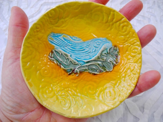 Bird Dish, Blue Bird, ring dish, snack plate, Yellow Decor, stamped pottery, Ceramic bowl, ring bowl, salt bowl, dipping bowl, sauce bowl