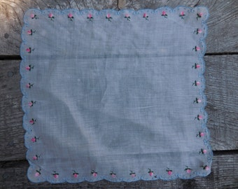Vintage White 1950s to 1960s Scalloped Edged Hanky Reuse/Reusable Embroidery Pink Flowers Blue Trim Sweet Handkerchief Something Old Retro