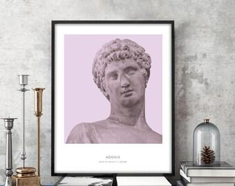 Adonis | Portrait of Adonis, Greek Mythology, Adonis Bust Art Print, Modern Home Decor, Violet, Greek God, History Prints, Bust Art Print