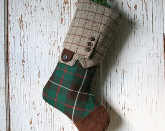 Green Plaid CHRISTMAS STOCKING, Masculine Style, Suede Toe