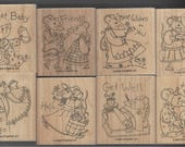 Say Something Mice Retired Stampin Up Set of 8 Wood Mounted Rubber Stamps Happy Birthday, You're an Angel, Get Well, Sweet Baby, Friends