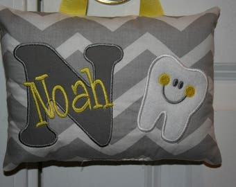 Tooth Fairy Pillow Personalized Chevron-Gray-Yellow-Tooth Chart-Gift