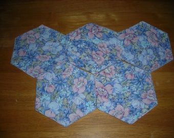 "Blue And Pink Floral Fabric 50 Piece Hexagon Quilt Fabric - 5 3/4"" - Die Cut"