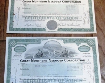 2 authentic Stock Certificates Great Northern Nekoosa Corporation dated 1981, 100 shares each ~ FREE SHIPPING