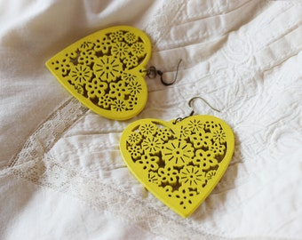 Chunky yellow wooden earrings, flowers, hearts, heart, sunny, big, light, wood, openwork dangle earrings, boho, hippie,